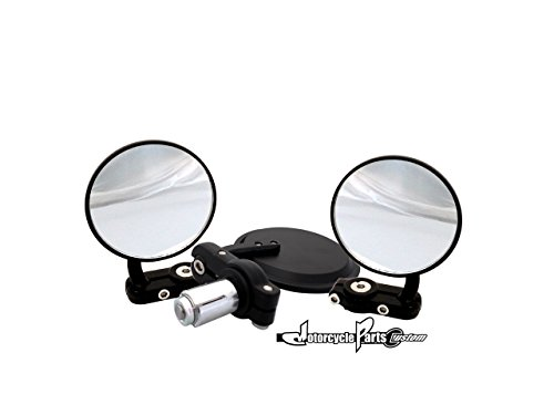 Motorcycle Universal Mirror Black Bar End 3 Inches Round Rear View Pack of 2