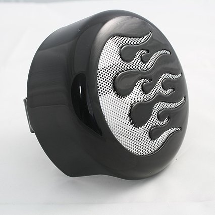 BKRider 4-58 Black Horn Cover with Chrome Flame Insert For Harley-Davidson