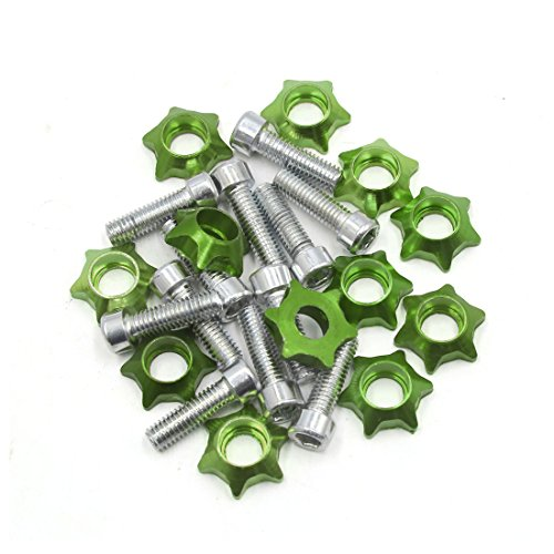 uxcell 12 Pcs 6mm Thread Dia Green Star Shaped Motorcycle License Plate Frame Bolts Screws