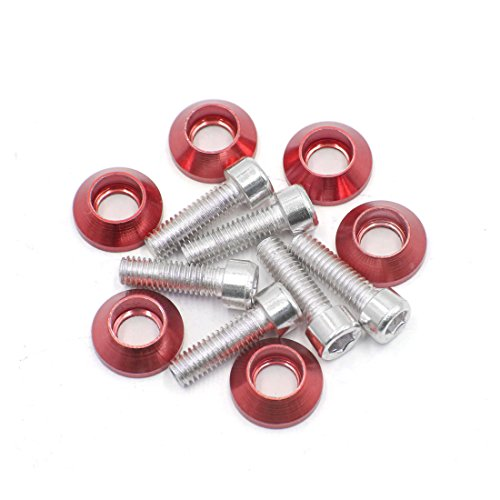 uxcell 6 Pcs 6mm Thread Red Aluminum Alloy Motorcycle License Plate Frame Bolts Screws