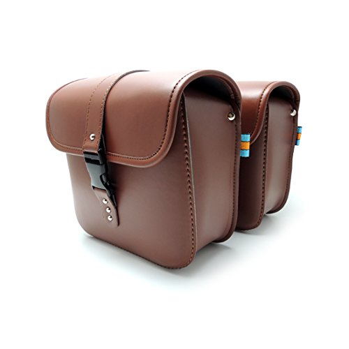 Brown Motorcycle Saddle Bags Pu Leather Saddlebags Tool Bags Side Pouch