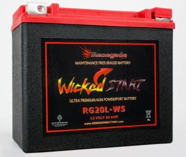 RG20L-WS Wicked Start 500 CCA Battery Harley 2016 Softail Slim S Part 16L-BS BTX20L-BS ES20LBS YTX20L-BS 65989-97ABC