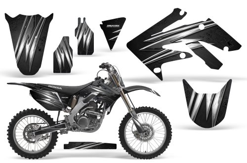 CreatorX Honda Crf 250 R Graphics Kit Decals Stickers Cold Fusion Black Incl Number Plate Graphics