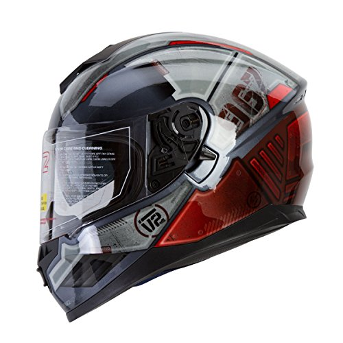 IV2 Falcon 967 - THE MECH Mercenary Mech High Performance Dual Visor Full Face Street Motorcycle Helmet with Retractable Sun Shield - Original Design Series DOT - Large