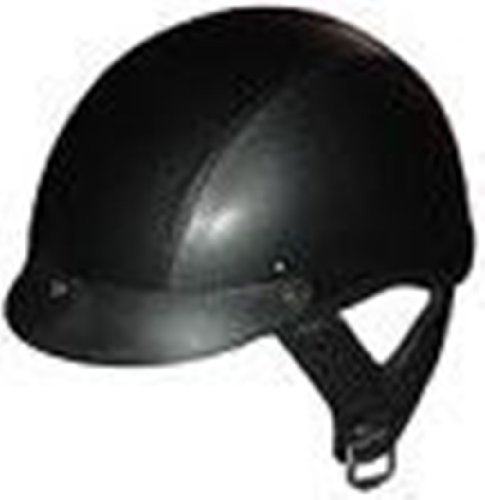 DOT LEATHER SHORTY MOTORCYCLE HELMET-100L-M