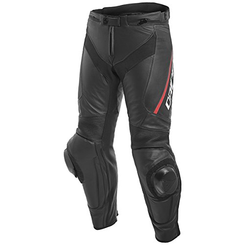 Dainese Delta 3 Mens Leather Motorcycle Pants BlackFluo Red 58 Euro405 USA