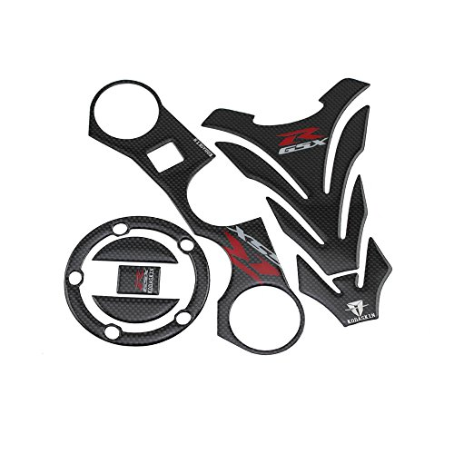 PRO-KODASKIN Carbon GSXR Gas Cap Tank Pad Triple Tree Front End Upper Top Clamp Decal Stickers Tank Pad Protector for GSXR 600 GSXR 750 GSXR 1000 K6 K7 K8 K9 L1 2006-2017