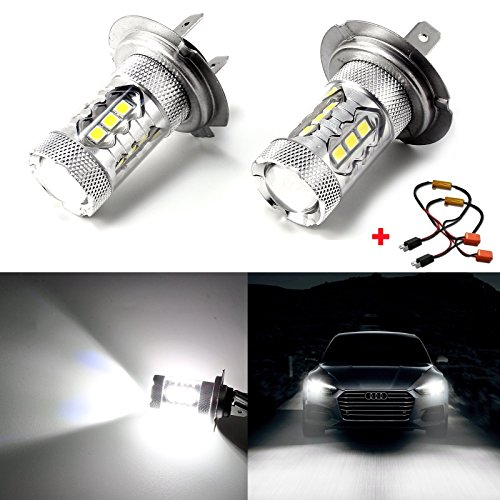 2x High Power Pure White 80W H7 CREE LED Bulbs for DRL Headlights Lights High Beam