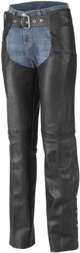 River Road Plains Womens Leather Chaps  Gender Womens Size 6 Primary Color Black Apparel Material Leather Distinct Name Black XF09-3034