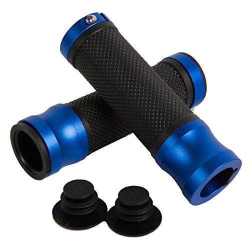 Tdh High Quality Universal Pvc Anodized Aluninium Handlebar Grips With Bar End Caps, Blue