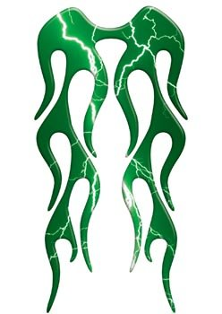 Motorcycle Fender Lightning Green Flame decal Rear or Short Fender Style - 8 L x 4 W - REFLECTIVE