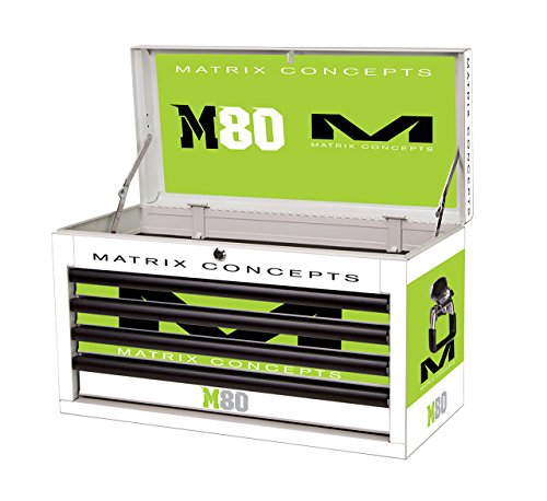 Matrix Concepts M80 415 M80 Race Series WhiteGreen 4 Drawer Tool Box with Clash Graphic Kit