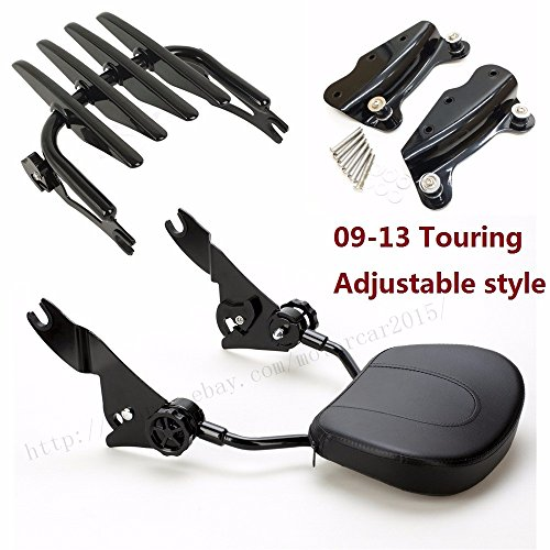 Motorcycle Sissybar harley Backrest street glide Docking hardware kits road king luggage Rack For Harley Touring ultra CVO 2009-2013 gloss black