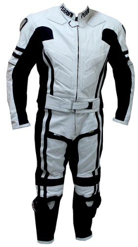 2 Pc Perrini Ghost Motorcycle Racing Leather Suit With Metal Waist Zipper