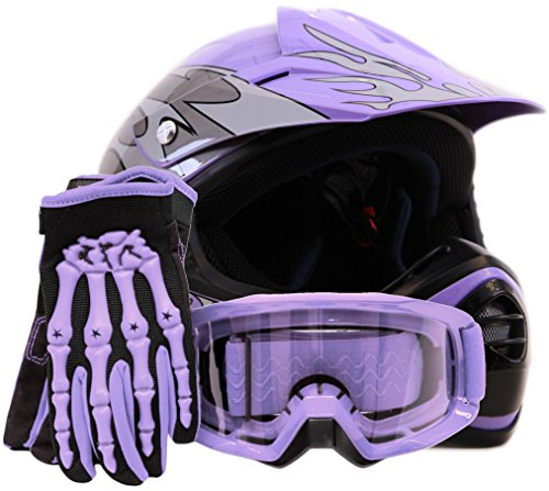 Youth Offroad Gear Combo Helmet Gloves Goggles DOT Motocross ATV Dirt Bike MX Motorcycle Purple - Large