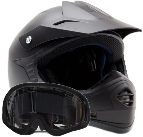 Youth Offroad Gear Combo Helmet & Goggles Dot Motocross Atv Dirt Bike Mx Motorcycle Matte Black L Large