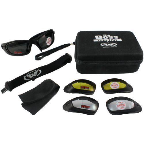 Global Vision Boss Goggles and Lens Kit Black FrameClear Smoke Yellow Lens
