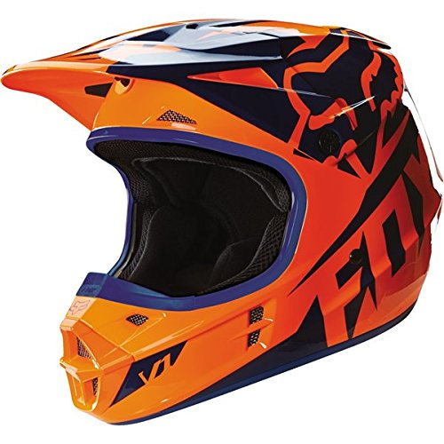 Fox Racing 2016 Race Mens V1 Motocross Motorcycle Helmet - OrangeBlue  X-Small