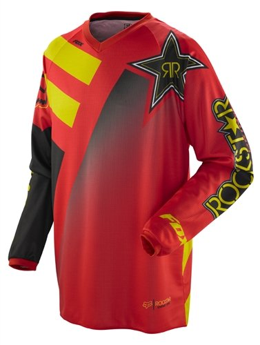 Rockstar Energy Drink Officially Licensed Fox HC Youth Boys MotocrossOff-RoadDirt Bike Motorcycle Jersey - Red  Small