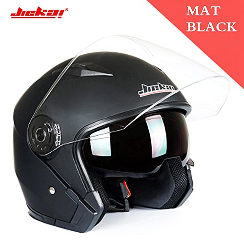 Motorcycle Helmet Open Face Street Bike 34 Half Helmet JK-512 DOT Approved with Sun Visor and Washable Liner for Adult Men and WomenMatte BlackXXL