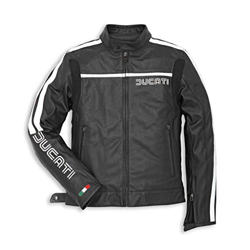 Ducati 981022350 80s Perforated Leather Riding Jacket - Black - Size 50