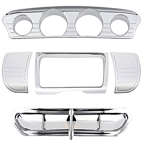 Set for 2014-2016 Harley Touring Electra Street Glide Trike Tri Line Stereo Side Panel Center Gauge Trim  Fairing Accent Covers Chrome