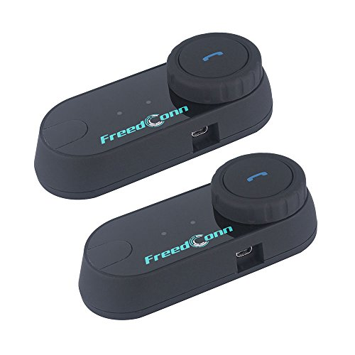 Motorcycle Communication SystemFreedConn T-COMVB Helmet Bluetooth Headset Intercom for Motorbike Skiing Pack of 2Range-800M2-3Riders PairingBlack