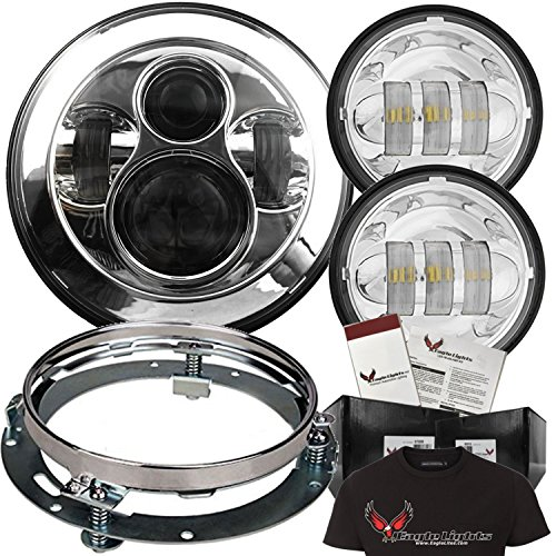 Eagle Lights 8700 7 Round Chrome Harley Daymaker LED Headlight with Matching Chrome Passing Lamps Adapter Ring and Free T-Shirt