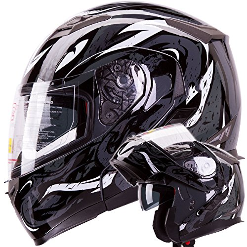 IV2 Black VIPER Dual Visor Modular Flip-Up Motorcycle Adventure Touring Helmet DOT - Large