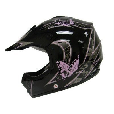 TMS Youth Kids Pink Butterfly Dirtbike Atv Motocross Helmet Mx Small