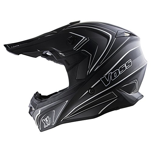 Voss X1 Pro Magneto Graphic Motocross Helmet with Quick Release - XL - Two Tone Stealth
