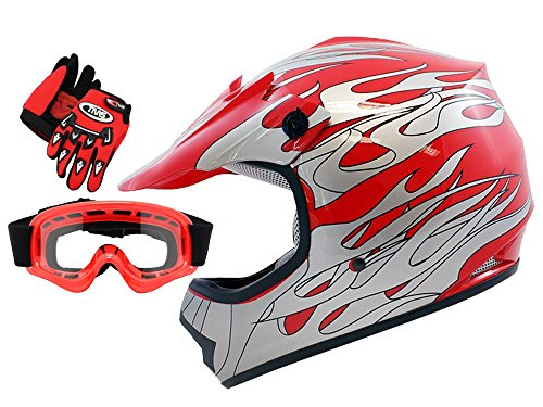 TMS Youth Kids Red Flame Dirt Bike ATV Motocross Helmet with Goggles and Gloves Medium
