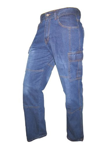 Juicy Trendz Mens Motorbike Sports Cargo Jeans Aramid Protection Lining W36-L30