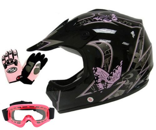 TMS Youth Kids Pink Butterfly Dirtbike Atv Motocross Helmet Mx Wgogglesgloves Large