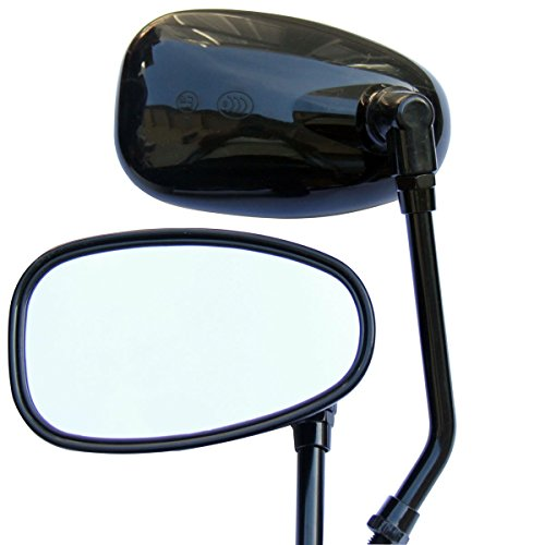 Black Oval Rear View Mirrors for 2003 Kawasaki Eliminator 125 BN125A
