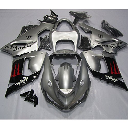 ZXMOTO Black Sliver Painted With Graphic Fairing Kit for Kawasaki ZX-6R 636 2005-2006