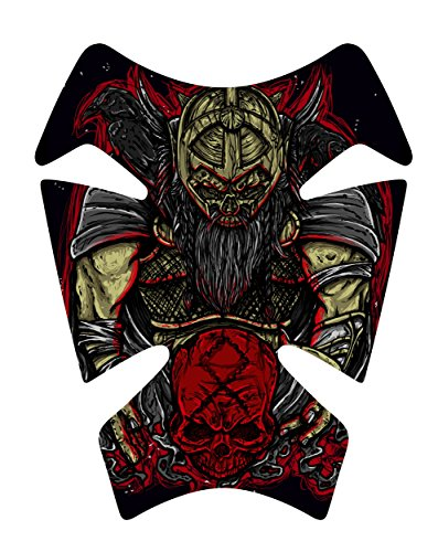Size is 82 tall x 65 wide Odin Skull Crow Gel Motorcycle Gas Tankpad Kawasaki Ninja ZX Suzuki GSXR Honda CBR Yamaha YZF Triumph Motorcycle TanK pad Decal Sticker