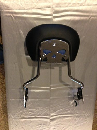 Harley Davidson chrome skull backrest mounting plate with blue eyes fits touring bikes Road King Street Glide mounting plate only backrest not included