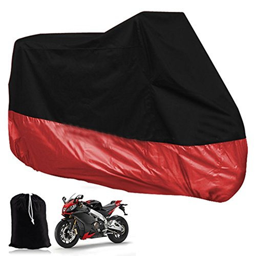 All Season Waterproof Sun Motorcycle Cover Durable Waterproof Dustproof UV Protective Heatproof Motorbike Covers with Carry Bag Universal Fit Multiple Motorcycles - 6 Size Options