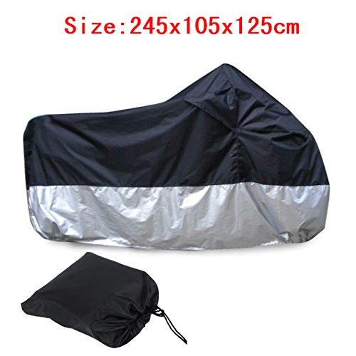 Iglobalbuy Large Size Waterproof Motorcycle Cover 190T Polyester For Honda Kawasaki Suzuki