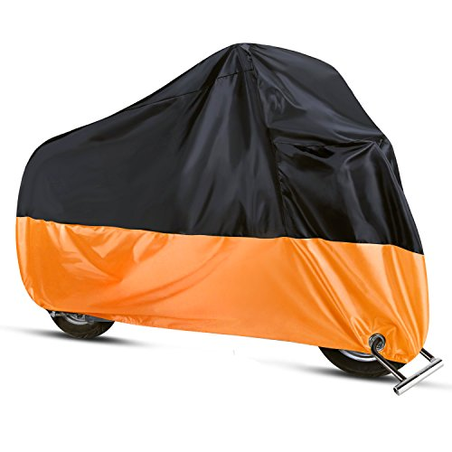 Sanku Waterproof Motorcycle Cover All Season Protection Outdoor Storage BagPrecision Fits up to 96 Motors  2 Lock-holes Design Anti-theft Durable Tear Proof XLBlack& Orange