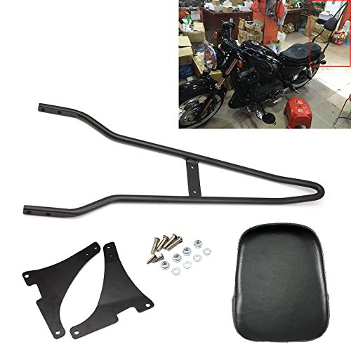 Motorcycle Detachable Backrest Rear Passenger Driver Rider Backrest Sissy Bar Mount Kit with Leather Back Rest Seat Pad For Harley Sportster 883 1200 XL 48 72 04-14Black