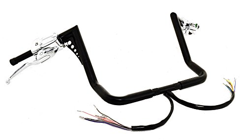 13 Rise Black Ape Hangers El Diablo Fat 1-14 Diameter with Hand Controls for Harley Dressers Baggers With Cruise Control 1996-2012 Motorcycles