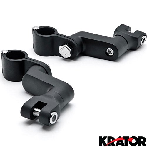 Krator Black 1 Engine Guard Bowleg Foot Peg Clamps For Harley Davidson Dyna Glide Low Rider