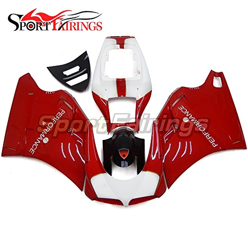 Sportfairings Injection Red White ABS Plastic Complete Fairing Kits For DUCATI 996 748 916 998 Biposto Year 1996-2002 Motorcycle Cowlings