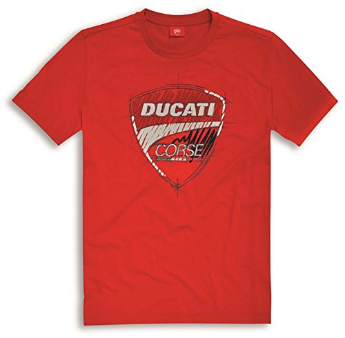 Ducati Corse 17 Graphic Sketch Short Sleeve T-Shirt Red X-Large