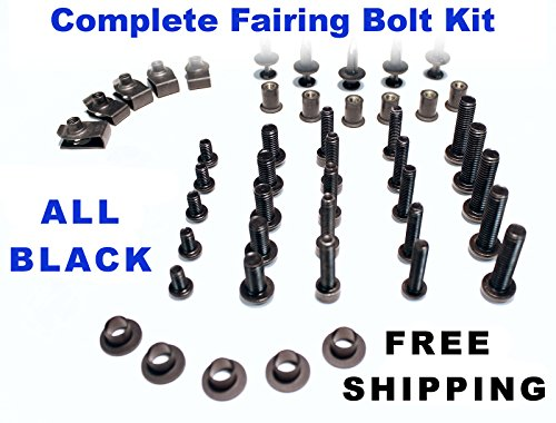 Black Complete Motorcycle Fairing Bolt Kit Ducati 748 1994 - 2003  916 1994 - 1998  996 1999 - 2002  998 2002 - 2004 Body Screws Fasteners and Hardware