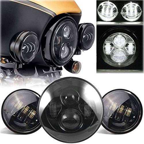 Seeutek 7 Inch Harley Daymaker LED Headlight Auxiliary Lamp Led Light Bulb 2Pcs 4-12 Fog Light Passing Lamps for Harley Davidson Motorcycle Black