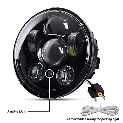 Liteway 5-34 575 Round LED Projection Daymaker Headlight for Harley Davidson Motorcycles Black 9 pcs Bulb 2 Years Warranty
