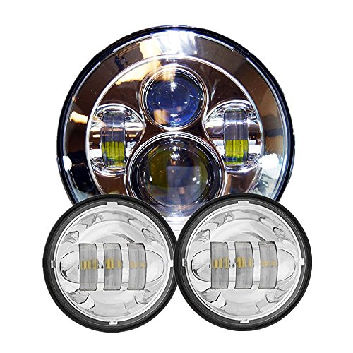 Wisamic 7 LED Projection Daymaker Headlight with 2pcs 4-1245 Fog Lights Passing Lamps for Harley Davidson Motorcycle Silver